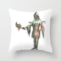 Clown Cat with Lion Stick Throw Pillow