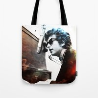 dylan Tote Bags featuring Bob Dylan by Maioriz Home
