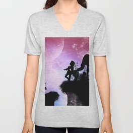 Cute centaurs silhouette Unisex V-Neck