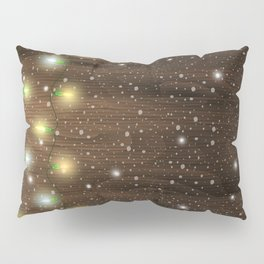 Christmas lights on wooden background Pillow Sham