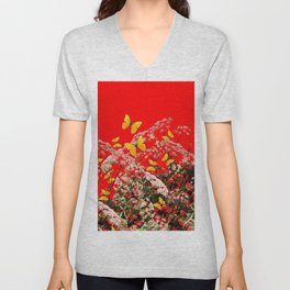 RED GARDEN ART OF YELLOW BUTTERFLIES & LACEY FLOWERS Unisex V-Neck