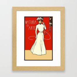 Nature ed Arte, Italian Lady on an antique telephone Framed Art Print