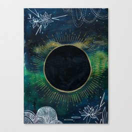 New Moon Original Mixed Media Painting Canvas Print