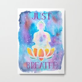 Just Breathe - Hippy Boho Buddha Watercolor Metal Print