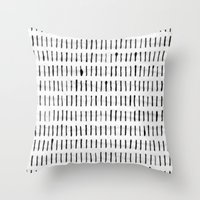woodstock Throw Pillows featuring Black Ink Woodstock Pattern on White  by LacyDermy