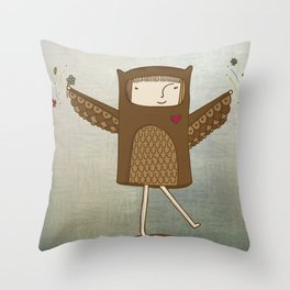 Little Owl Girl Throw Pillow