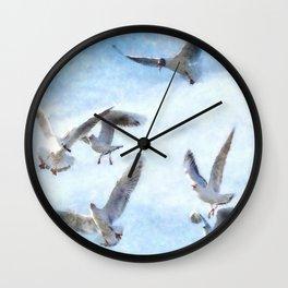 Gulls In Flight Watercolor Wall Clock