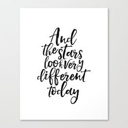 Inspirational Print And The Stars Look Very Different Today Printable Art Wall Art Song Lyrics Canvas Print