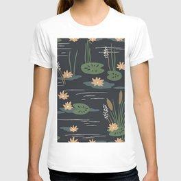 Lily Pad Pond Lotus Flowers Vector Minimalist Art T-shirt