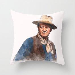 John Wayne - The Duke - Watercolor Throw Pillow