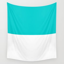 White and Cyan Horizontal Halves Wall Tapestry
