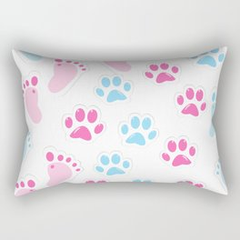 Seamless background with baby footprint and animal paws Rectangular Pillow