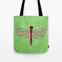 dragonfly Tote Bags featuring Dragonfly by Artbrightcy