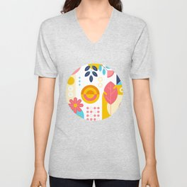 abstract with shapes and plants Unisex V-Neck