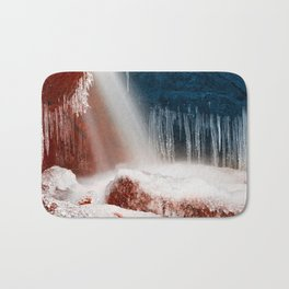 Winter Harmony Stream - Red White & Blue Bath Mat
