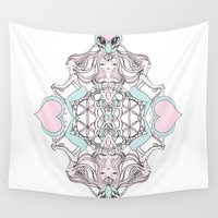 cycling Wall Tapestries featuring Moon Goddess Cycling Club by Universal Love