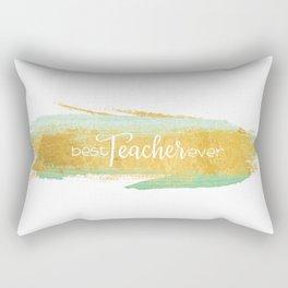 Best Teacher Ever   Gold and Mint Watercolor Rectangular Pillow