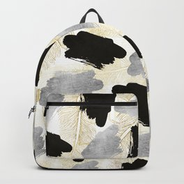Modern black faux silver gold feathers brushstrokes Backpack
