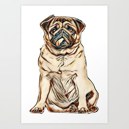 Pug, 4 years old, sitting against white background        - Image Art Print