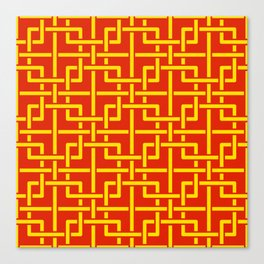 Tangled squares Chinoiserie in Chinese flag's colors Canvas Print