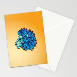 Triangular Abstract Lion in Shades of Blue Stationery Cards