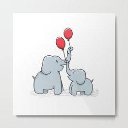ELEPHANT HAPPY FAMILY Metal Print