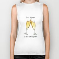 champagne Biker Tanks featuring Champagne! by mJdesign