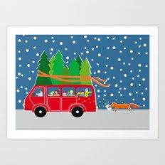 Christmas Bus Art Print