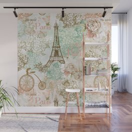 I love Paris - Vintage Shabby Chic - Eiffeltower France Flowers Floral  Wall Mural