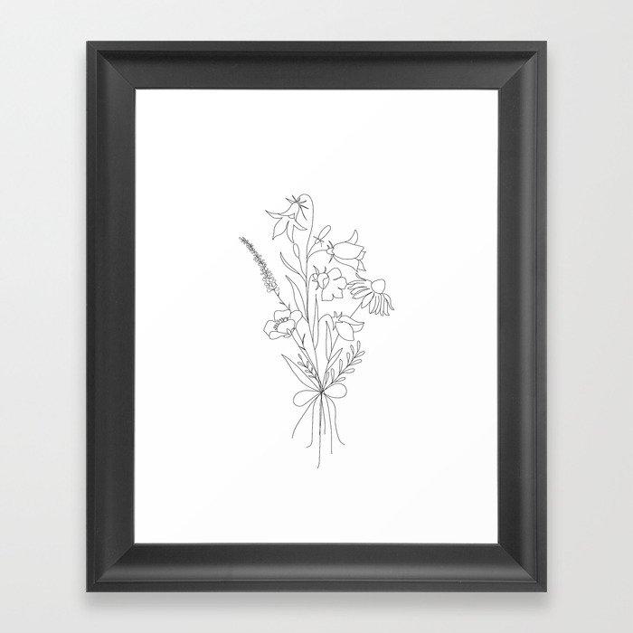 Small Wildflowers Minimalist Line Art Gerahmter Kunstdruck