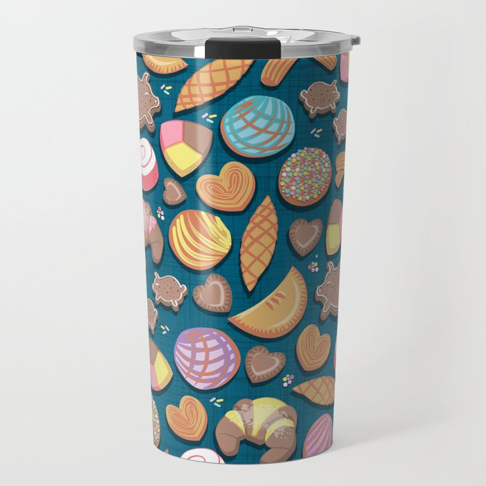 Mexican Sweet Bakery Frenzy // turquoise background // pastel colors pan dulce Travel Mug