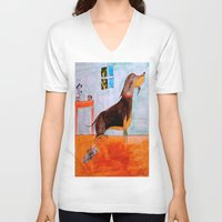 dachshund V-neck T-shirts featuring Dachshund by Caballos of Colour