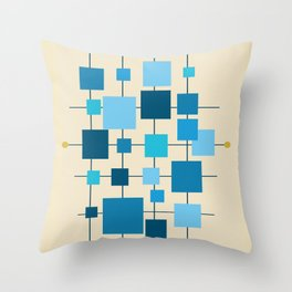 Mid-Century Modern Geometric Abstract Squares - Blue Throw Pillow