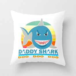 Daddy Shark Gift for dad daddy , father's day , papa Throw Pillow