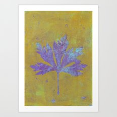 Leaf - Yellow Purple Monoprint Art Print