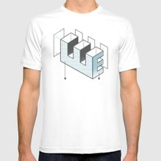 The Exploded Alphabet / E MEDIUM White Mens Fitted Tee