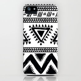 Tribal black and white iPhone Case