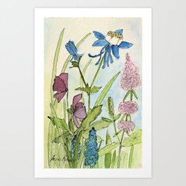 Columbine Garden Flower Watercolor Art Print