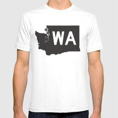 SEATTLE WASHINGTON//FIVE Mens Fitted Tee SMALL White