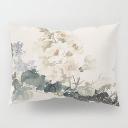 Vintage Chinese Ink and Brush Painting and Calligraphy Pillow Sham