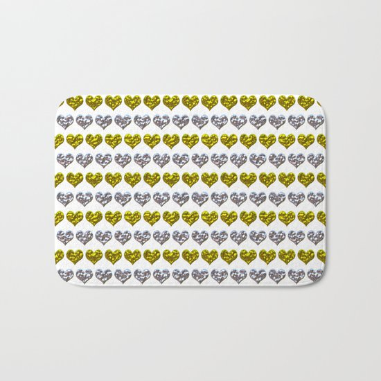 Silver and Gold Hearts Pattern Bath Mat
