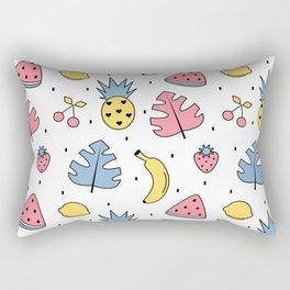 cute pattern with exotic leaves, bananas, pineapples, lemons, watermelon, cherries and strawberries Rectangular Pillow