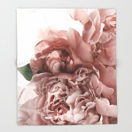Blush Pink Floral Throw Blanket