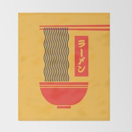 Ramen Japanese Food Noodle Bowl Chopsticks - Yellow Throw Blanket