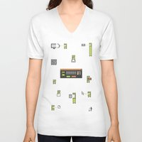 computer V-neck T-shirts featuring Computer Virus by Bakal Evgeny