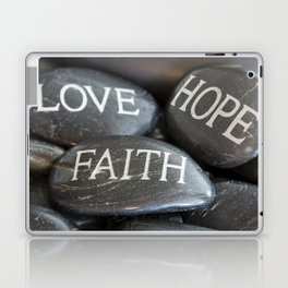 Love Faith Hope Christian Quote Black Pebble Embossing Laptop & iPad Skin