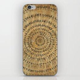 Elder Futhark Spiral Art on Wooden texture iPhone Skin