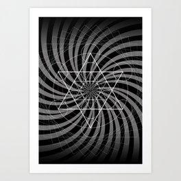 Metatron's Cube Grayscale Spiral of Light Art Print