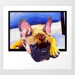 Frenchie in the Window Art Print