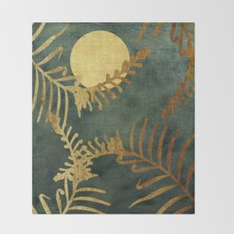 Golden Cycas leaves on dark green canvas Throw Blanket